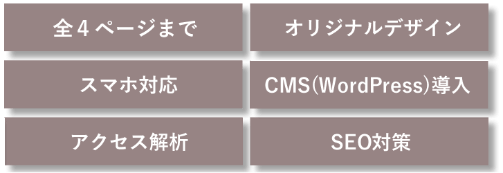 全4ページまで/オリジナルデザイン/スマホ対応/CMS(WordPress)導入/アクセス解析/SEO対策