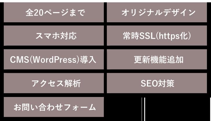 全20ページまで/オリジナルデザイン/スマホ対応/常時SSL(https化)/CMS(WordPress)導入/更新機能2点追加/アクセス解析/SEO対策/お問い合わせフォーム